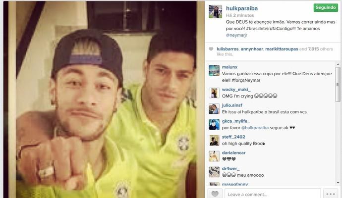 Hulk posta foto com Neymar e envia recado para o atacante (Foto: Reprodução/Instagram)