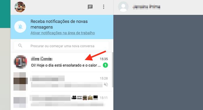 Mensagem não lida em um chat do WhatsApp Web (Foto: Reprodução/Marvin Costa)