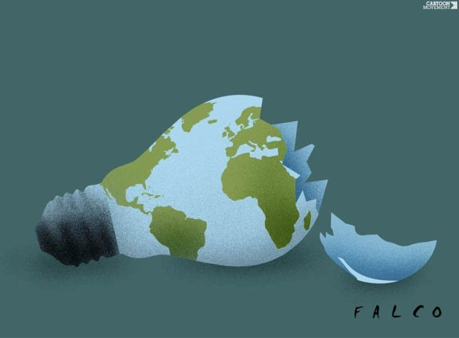 A fragilidade do mundo (Foto: Alex Falcò Chang / Cartoon Movement)