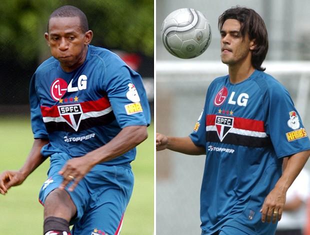 montagem Mineiro e Josué, no São Paulo 2005 (Foto: Montagem sobre foto da Vipcomm)