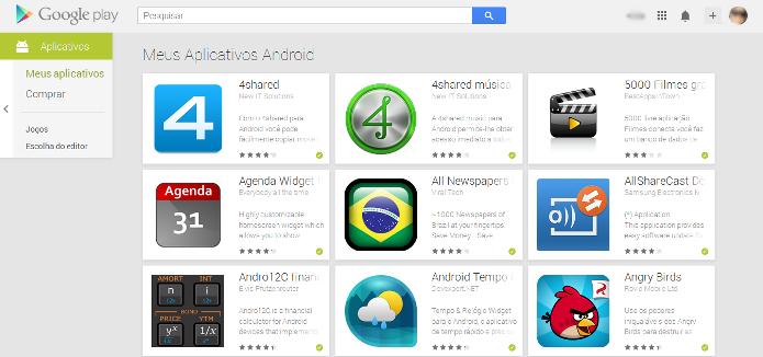 Lista com os apps pagos e gratuitos já baixados (Foto: Reprodução/Lívia Dâmaso)