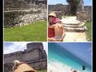Flávia Alessandra carrega a filha caçula no colo em férias no México