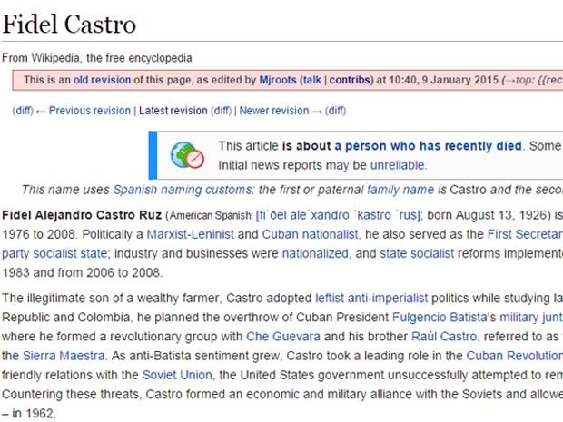 Falso anúncio da morte de Fidel Castro na Wikipedia em 9 de janeiro (Foto: Reprodução/Wikipedia)