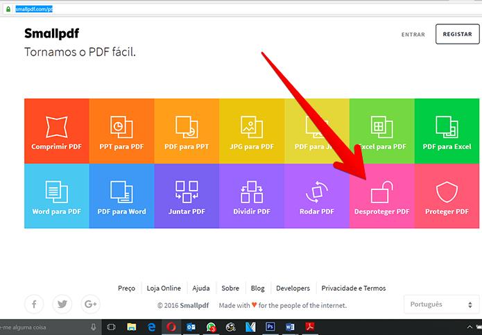 No Smalpdf, acesse o recurso de desbloqueio de documentos (Foto: Reprodução/Filipe Garrett)