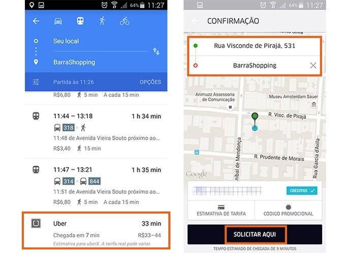 Encontre a opção do Uber no Google Maps (Foto: Reprodução/Barbara Mannara)