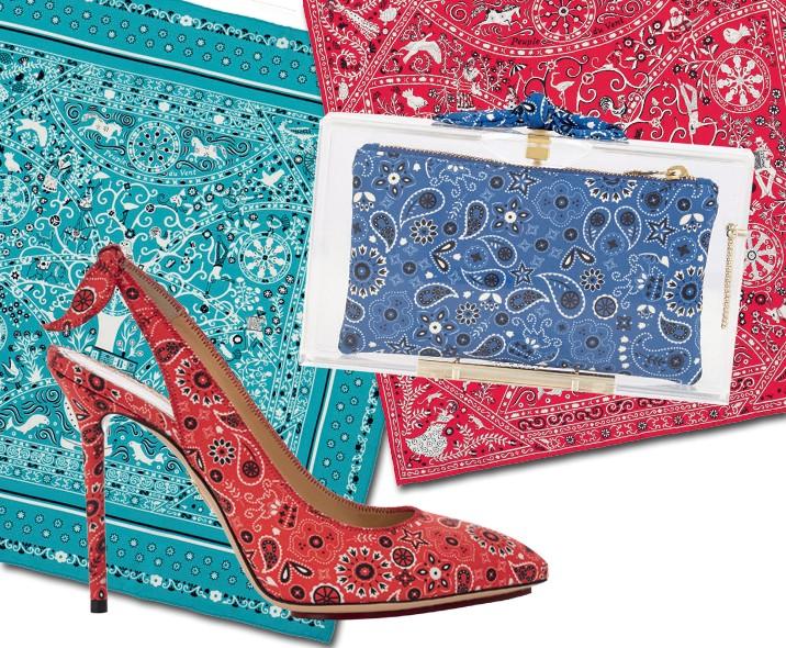 Os icônicos carrés da Hermès ganharam estampa de bandana (R$ 610); abaixo, o print nos acessórios-hit de Charlotte Olympia (Foto: Ellen Von Unwerth / Arquivo Vogue, Getty Images, Reprodução Instagram @joansmalls e Divulgação)