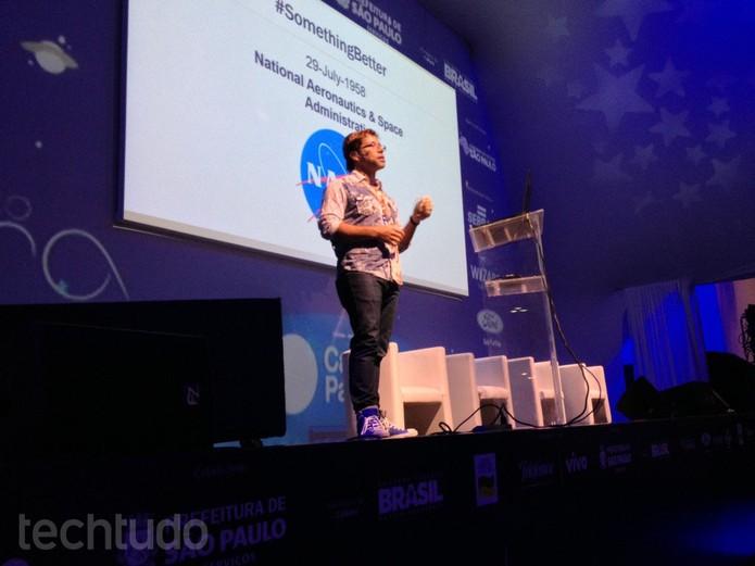 Matthew F. Reyes é estrategista de tecnologias da Nasa e esteve na Campus Party  (Foto: Melissa Cruz / TechTudo)