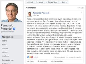 Postagem Fernando Pimentel, Três Corações, Edvânia Nayara (Foto: Reprodução/Facebook/Fernando Pimentel)