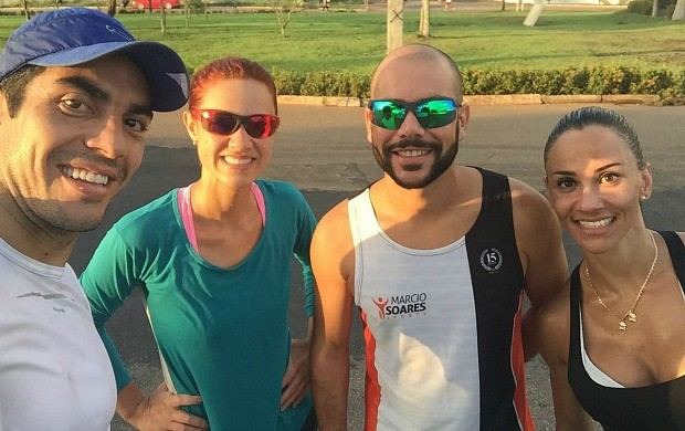 Karina Quadros faz teste físico com ultramaratonista Márcio Soares (Foto: Karina Quadros/Arquivo Pessoal)