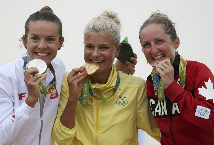 Maja Wloszczowska, Jenny Rissveds e Catharine Pendrel (Foto: Reuters)