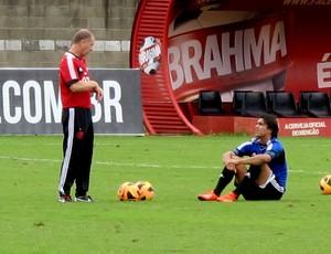 Mano Menezes e Marcelo Moreno treino Flamengo (Foto: Richard Souza)