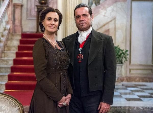 Márcia com Felipe Camargo em Novo Mundo, seu derradeiro trabalho na televisão  (Foto: Paulo Belote/ TV Globo)