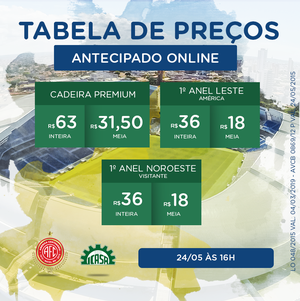 Tabela de preços - América-RN x Icasa (Foto: Reprodução)