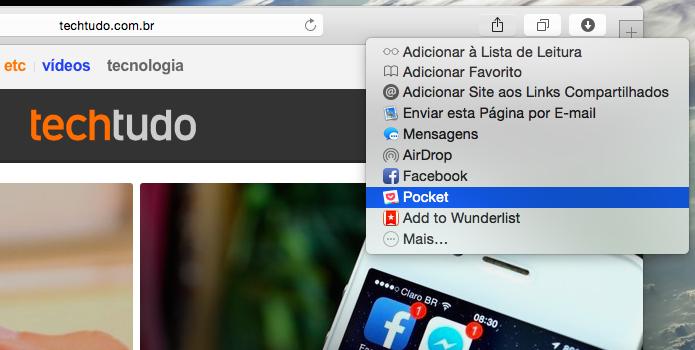 Pocket adicionou suporte ao menu de compartilhamento do OS X (Foto: Reprodução/Helito Bijora)