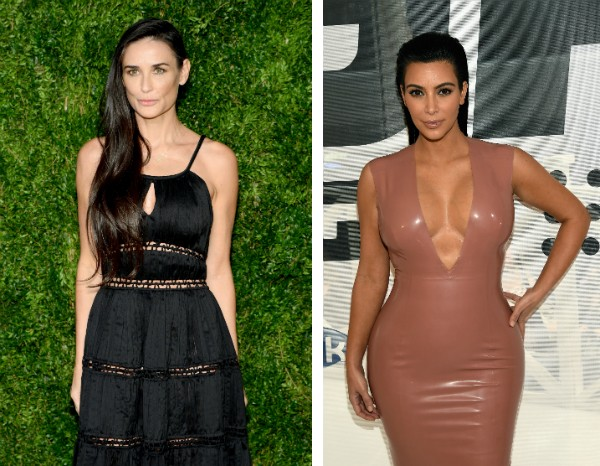 A atriz Demi Moore e a celebridade Kim Kardashian (Foto: Getty Images)