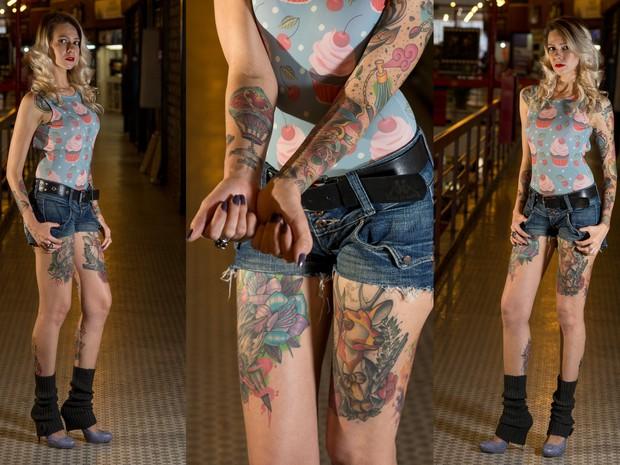 Cris Krause diz que entregou o corpo para artistas da tatuagem  (Foto: Flávio Moraes/G1)