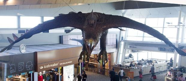 Águia é pendurada no teto do aeroporto de Wellington (Foto: Marty Melville/AFP)