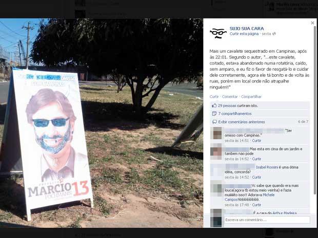 Cavalete colocado em local proibido é alvo de protesto em Campinas (Foto: Reprodução)