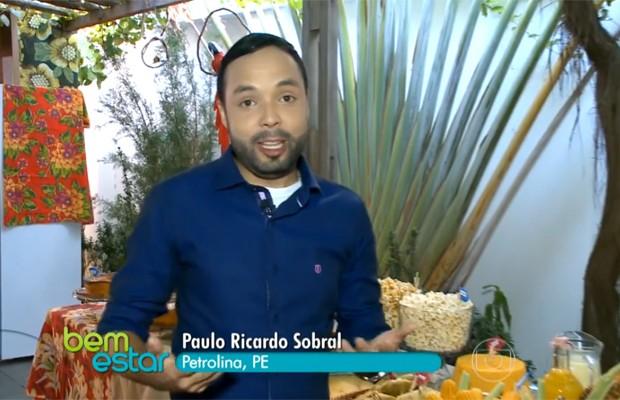 Paulo Ricardo Sobral gravou matéria sobre comidas juninas para o programa Bem Estar (Foto: Reprodução)