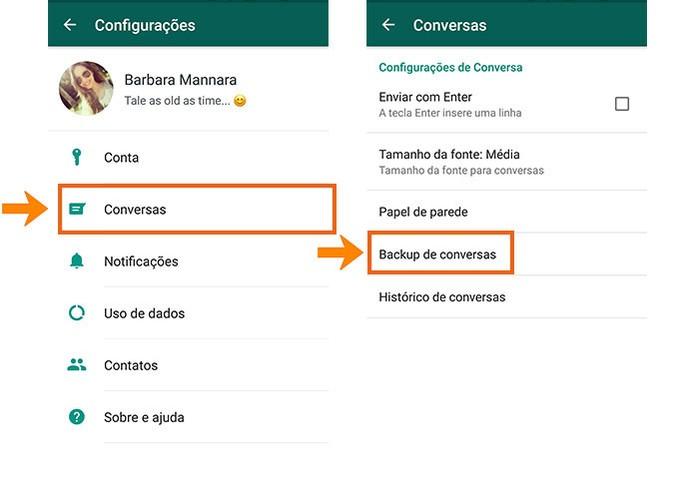 Abra a categoria de backup de conversas no WhatsApp (Foto: Reprodução/Barbara Mannara)