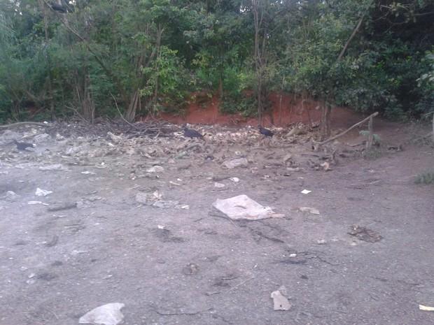 Restos dos animais abatidos eram jogados nos fundos da chácara (Foto: Divulgação/PM-TO)