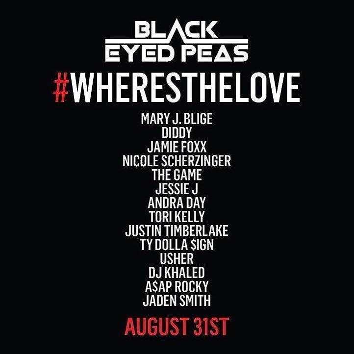Os artistas que vo participar da nova verso de 'Where's The Love', com o Black Eyed Peas (Foto: Reproduo)