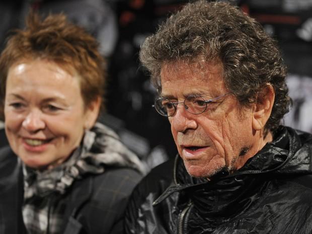 Laurie Anderson e Lou Reed durante coletiva de imprensa na Sidney Opera House, na Austrália, no dia 28 de maio de 2010 (Foto: AFP Photo/Greg Wood)