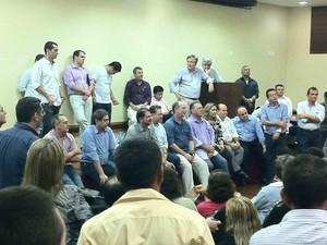 reunião de Cid Gomes e Aliados em que foi anunciada a desfiliação de cid e seu grupo político (Foto: Gabriela Alves/G1)