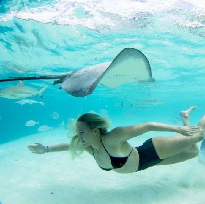 Laura Enever mergulha no mar do Taiti ao lado de arraias e tubarões (Foto: Reprodução/Instagram)