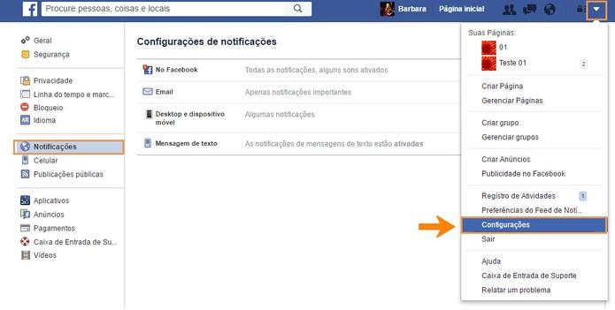 Acesse as configurações de notificações no Facebook (Foto: Reprodução/Barbara Mannara) (Foto: Acesse as configurações de notificações no Facebook (Foto: Reprodução/Barbara Mannara))