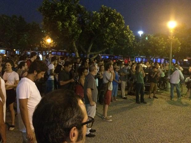 Ato de cineastas contra o impeachment no Centro do Rio (Foto: Daniel Silveira/G1)