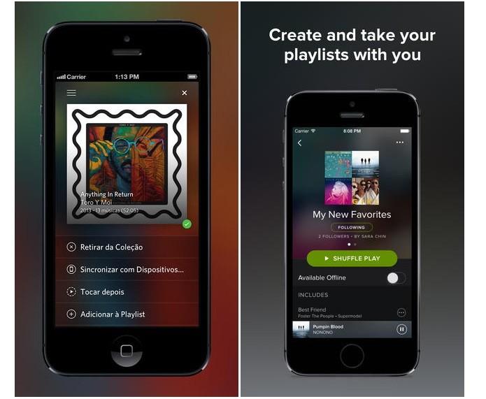 Rdio x Spotify: diferenças no mobile (Foto: Divulgação)