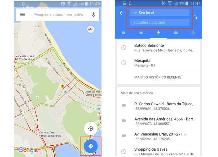 Acesse o recurso de rotas do Google Maps no Android (Foto: Reprodução/Barbara Mannara)