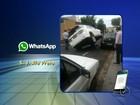 Motorista perde controle e carro para 'em cima' de outro veículo