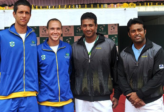 Marcelo Melo Bruno Soares Leander Paes Mahesh Bhupathi Índia Copa Davis tênis (Foto: Marcelo Ruschel / Divulgação)