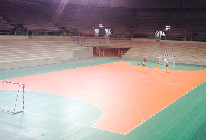 Quadra de handebol pronta no Parque Olímpico (Foto: quadra, handebol, olimpíadas, parque, olímpico)
