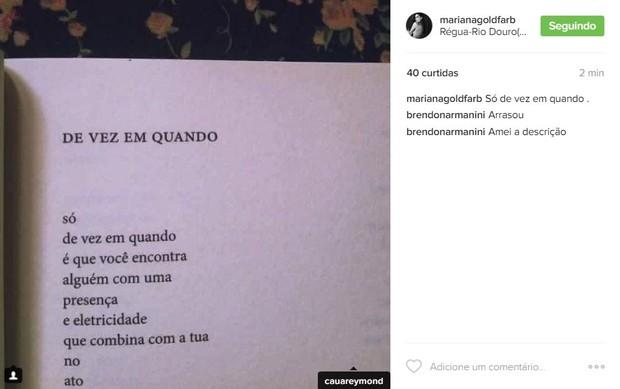 Cauã Reymond recebe declaração da namorada (Foto: Reprodução / Instagram)