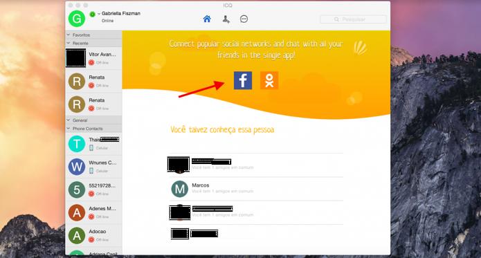 Conecte seu ICQ com as suas redes sociais e tenha todos os seus contatos no mensageiro (Foto: Reprodução/Gabriella Fiszman)