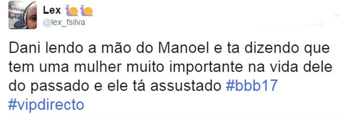 Internauta comenta Daniela lendo a mão de Manoel no Gran Hermano Vip (Foto: Reprodução da Internet / Twitter @lex_fsilva)