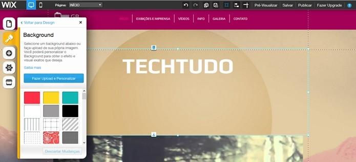 Mudar plano de fundo do site no Wix (Foto: Reprodução/Carolina Ribeiro)