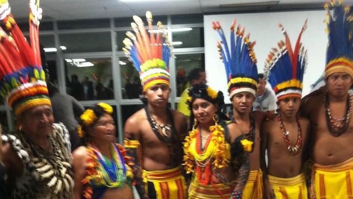 Lançamento nacional dos Jogos Mundiais Indígenas (Foto: Anderson Conrado/TV Anhanguera)