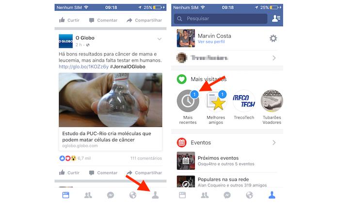 Acessando o filtro mais recentes do Facebook para iPhone (Foto: Reprodução/Marvin Costa)