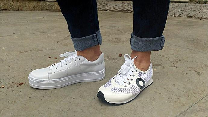 Blogueira ensinou diferentes combinações para tênis brancos (Foto: Raquel Gonzalez/Gshow)