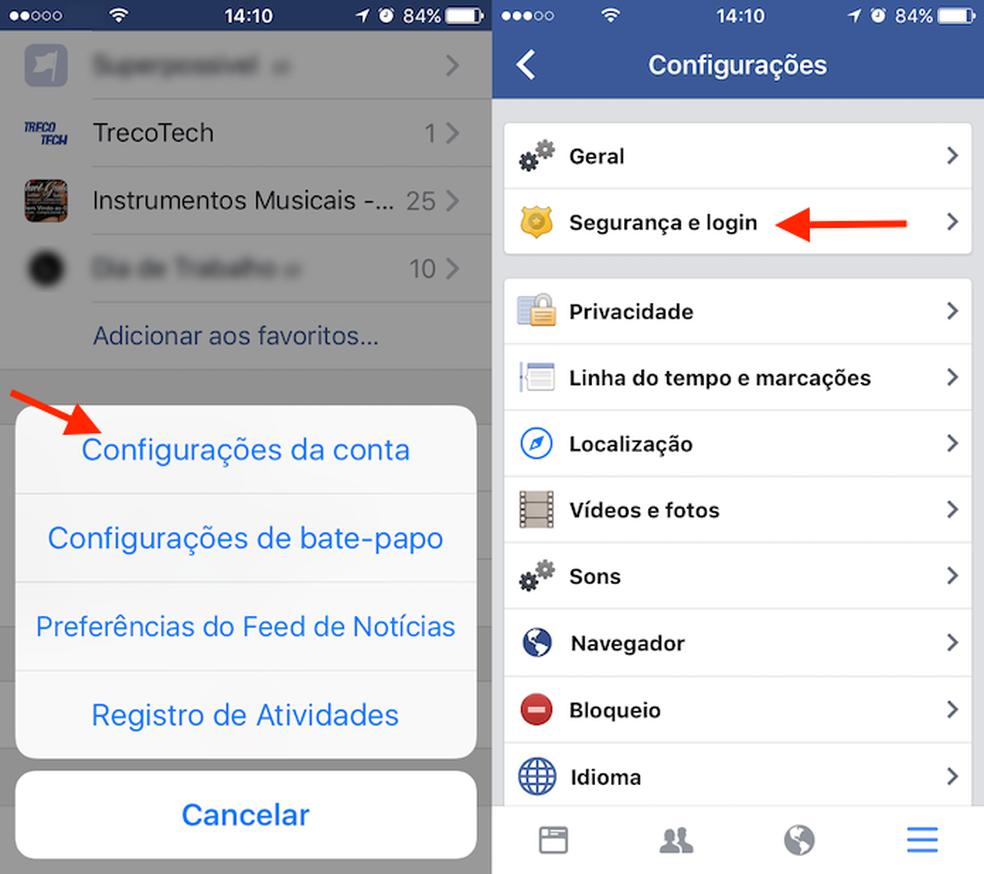 Caminho para a tela de configurações do aplicativo Facebook para iPhone (Foto: Reprodução/Marvin Costa)