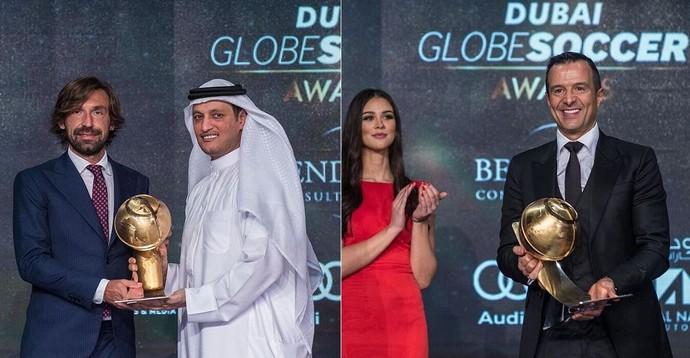 Pirlo e Jorge Mendes foram premiados (Foto: Instagram)