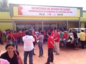 Protesto agentes (Foto: Genival Moura/G1)