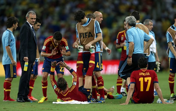 Sergio Ramos e Javier Martinez prorrogação, Espanha x Itália (Foto: Getty Images)