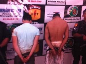 Suspeitos tentaram fugir, mas acabaram presos (Foto: Reprodução/TV Anhanguera)