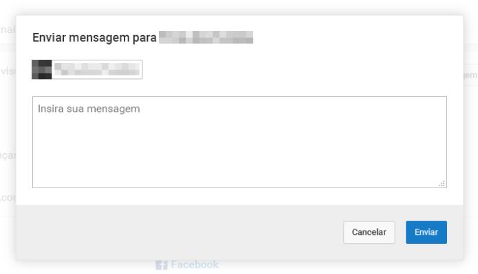 Enviando mensagem privada para um canal do YouTube (Foto: Reprodução/Lívia Dâmaso)