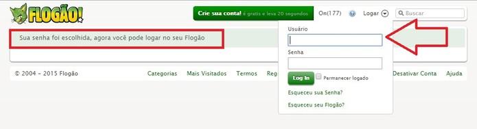 Faça login na sua conta (Foto: Reprodução/Flogão)